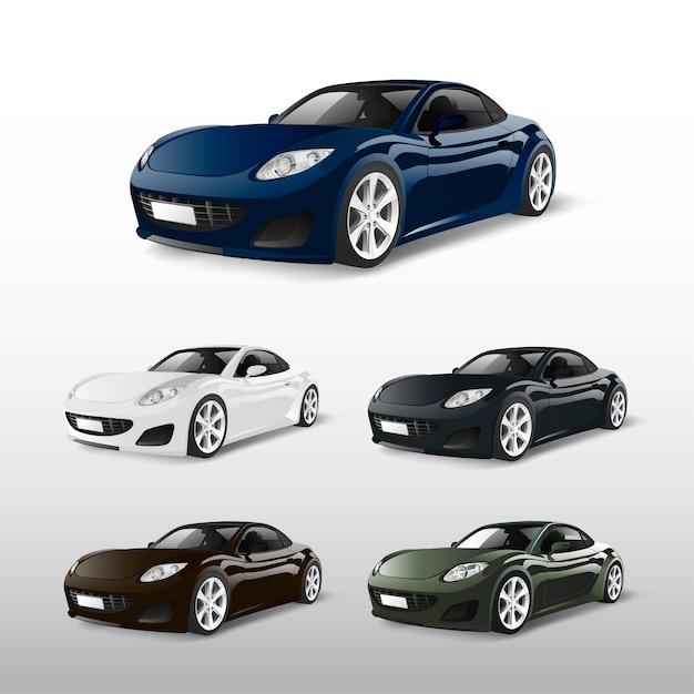 Set di auto sportive isolato su vettori bianchi Vettore gratuito