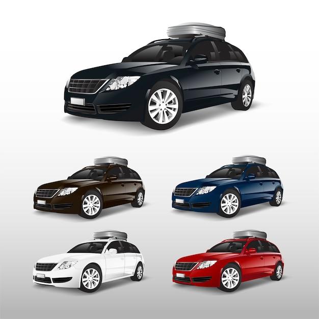 Set di auto suv con una scatola di immagazzinaggio sul tetto Vettore gratuito