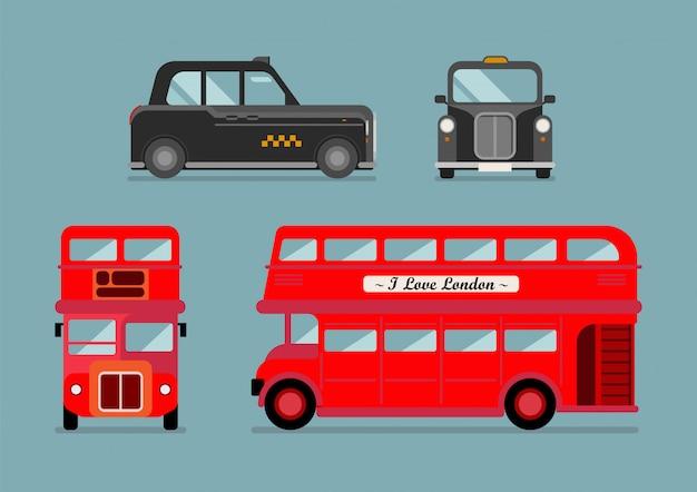 Set di autobus urbani e taxi di londra Vettore Premium