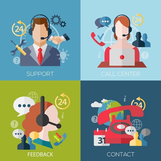 Set di avatar concept design piatto per supporto, call center, feedback, contatto Vettore Premium