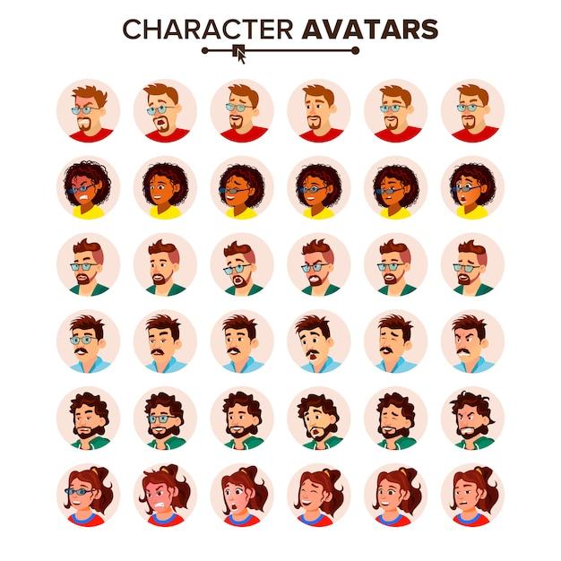 Set di avatar di persone. uomo donna. Vettore Premium