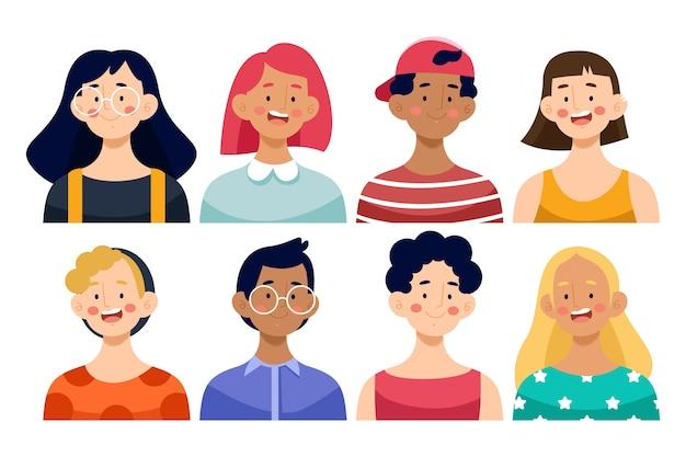 Set di avatar di persone Vettore gratuito