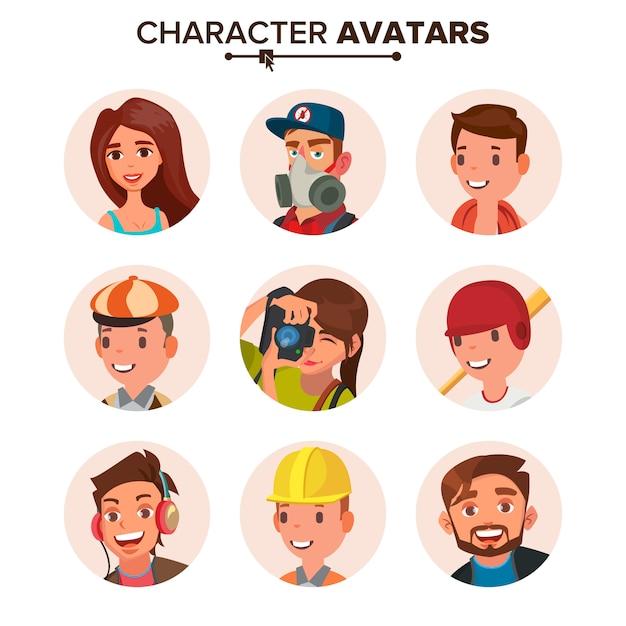 Set di avatar di persone. Vettore Premium