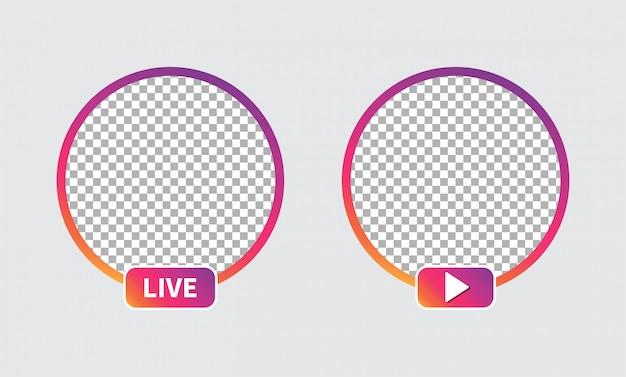 Set di avatar icona social media Vettore Premium