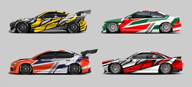 Set di avvolgimento per auto da corsa Vettore Premium