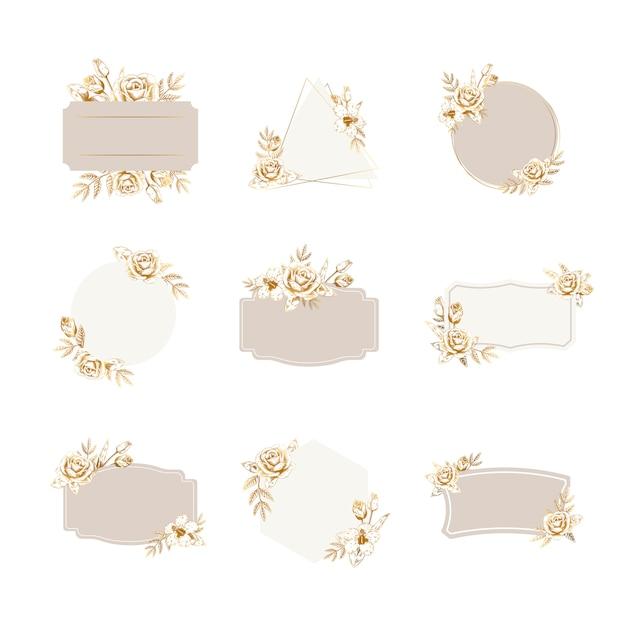 Set di badge floreali Vettore gratuito
