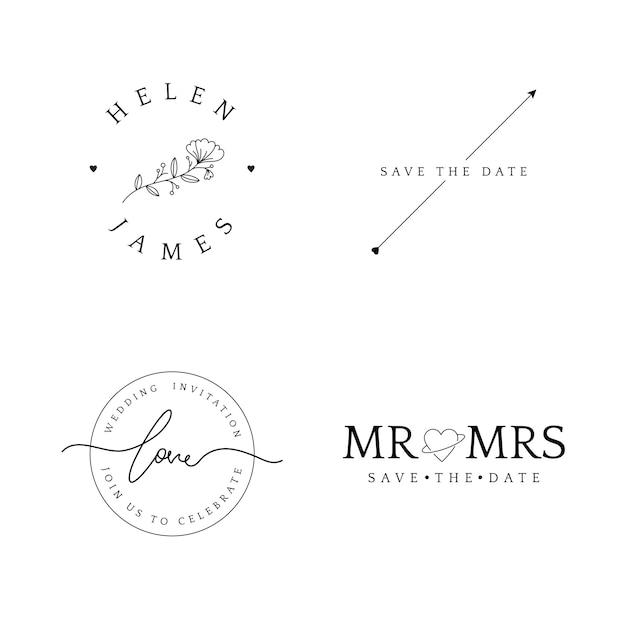 Set di badge invito matrimonio Vettore gratuito