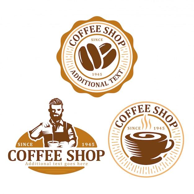 Set di badge logo caffè Vettore Premium