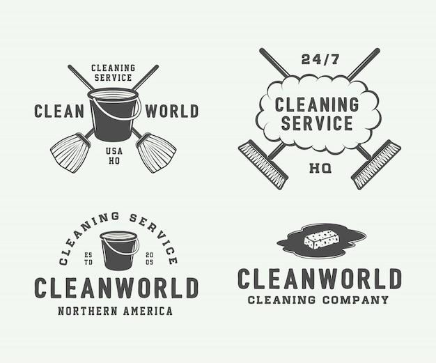Set di badge logo retrò di pulizia Vettore Premium