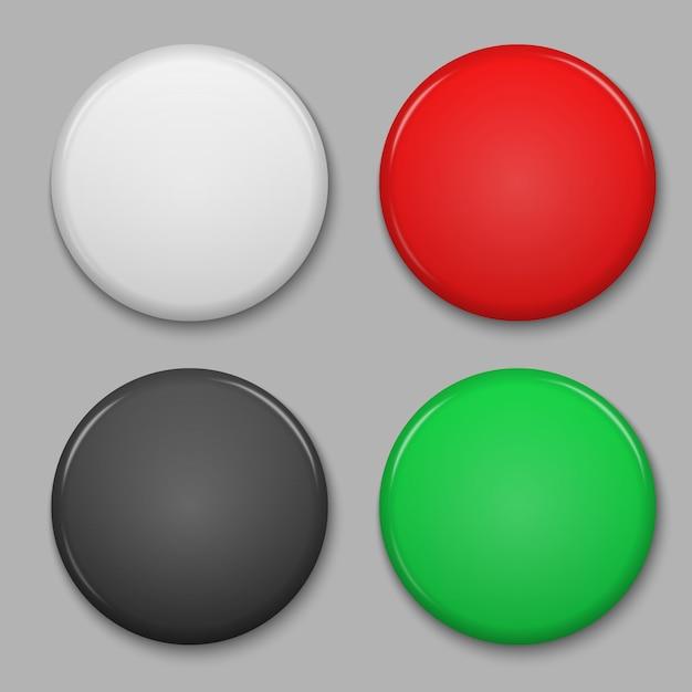 Set di badge lucido bianco o pulsante web. Vettore Premium