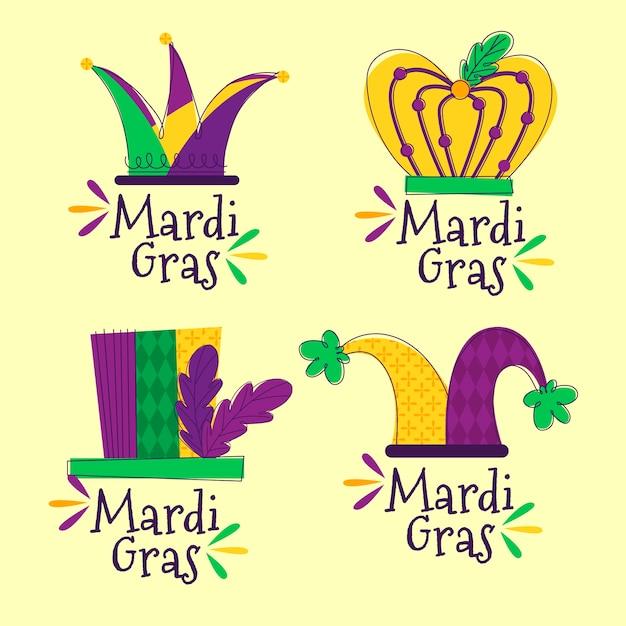 Set di badge mardi gras Vettore gratuito