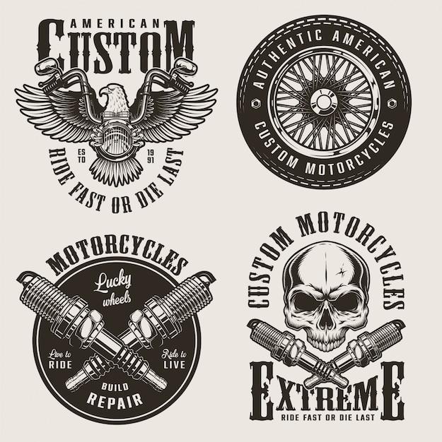 Set di badge moto custom vintage Vettore gratuito