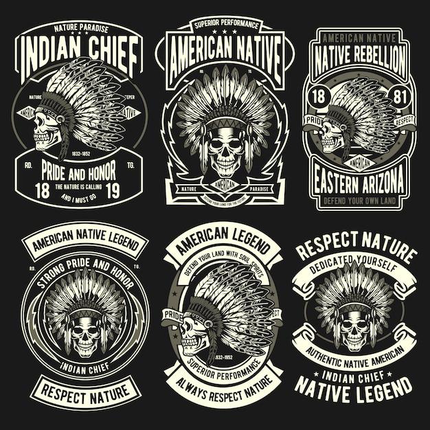 Set di badge nativi indiani Vettore Premium