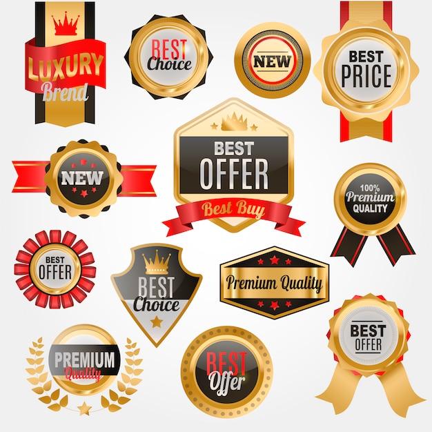 Set di badge o medaglie per negozio. qualità premium. etichetta del miglior prezzo. Vettore Premium