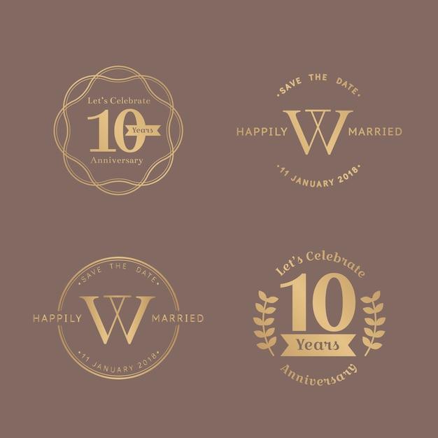 Set di badge per l'anniversario Vettore gratuito