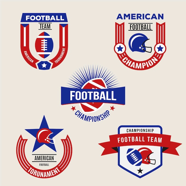 Set di badge retrò football americano Vettore gratuito