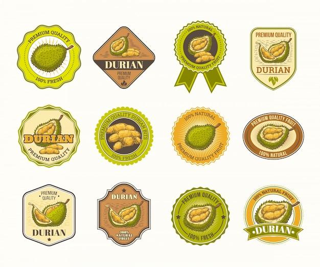 Set di badge vettore in bianco e nero, adesivi, segni di alta qualità, con frutta durian Vettore gratuito