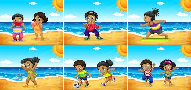 Set di bambini africani in spiaggia Vettore Premium
