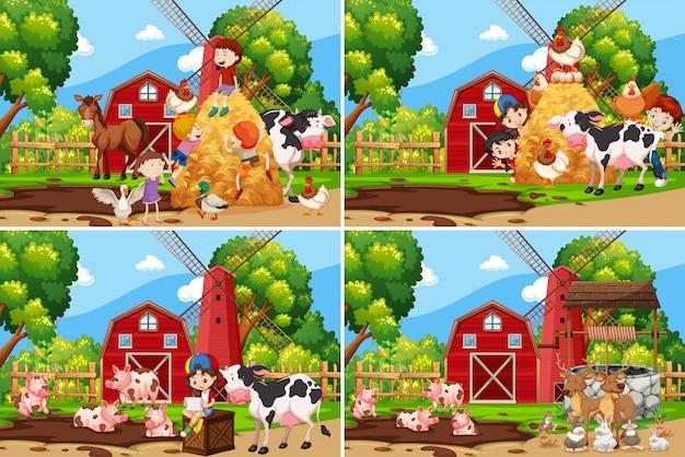 Set di bambini che giocano in fattoria Vettore gratuito