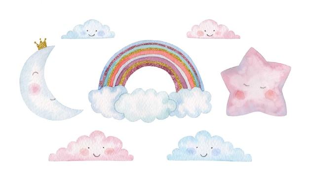 Set di bambini dell'acquerello di arcobaleno, stelle, luna e nuvole Vettore Premium