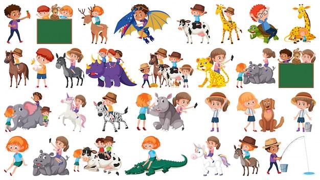 Set di bambini e animali Vettore Premium