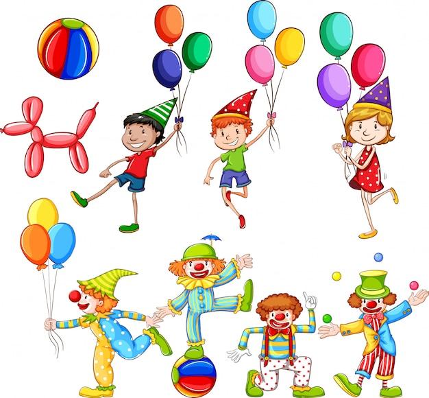 Set di bambini e pagliacci con palloncini Vettore gratuito