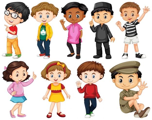 Set di bambini felici saluto Vettore gratuito