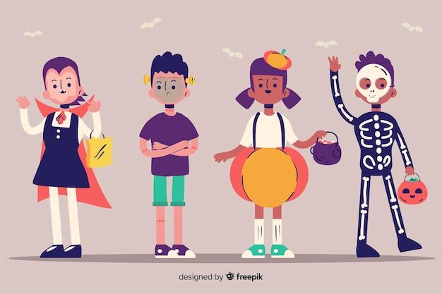 Set di bambini festa di halloween divertente e carino Vettore gratuito