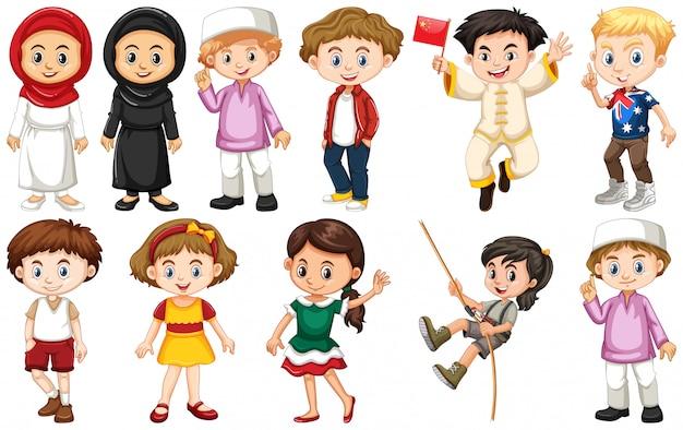 Set di bambini provenienti da diversi paesi Vettore gratuito
