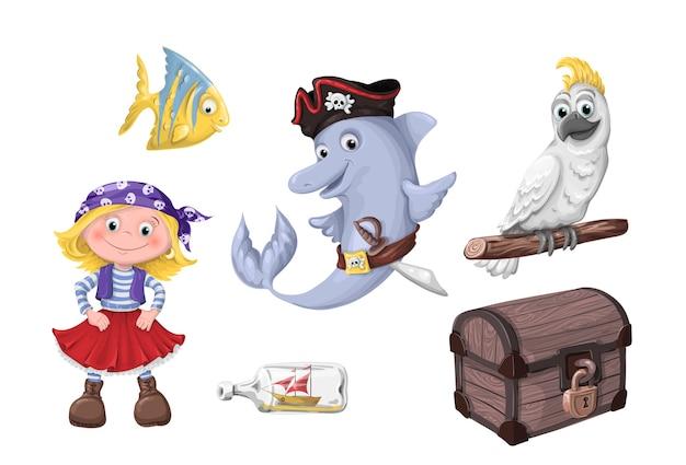 Set di bambini simpatici cartoni animati divertenti dei pirati Vettore Premium