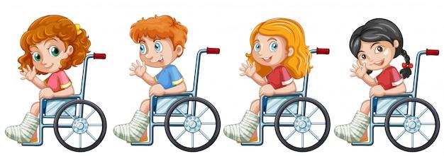 Set di bambini su sedia a rotelle Vettore gratuito