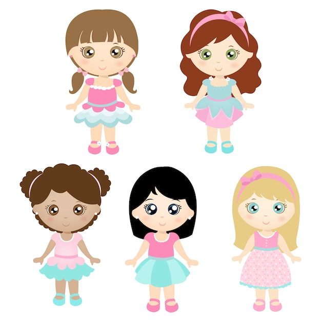 Set di bambole carine Vettore Premium
