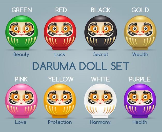 Set di bambole di monaci daruma colorati in giappone Vettore Premium