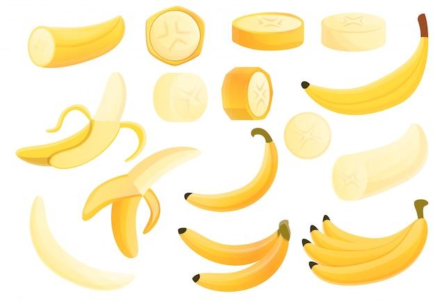 Set di banana, stile cartoon Vettore Premium
