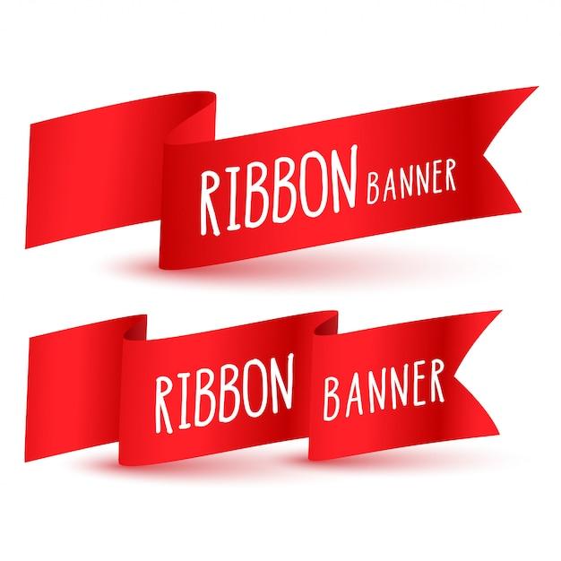 Set di bandiera nastro rosso Vettore gratuito
