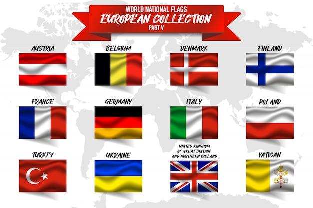 Set di bandiera nazionale del paese europeo su sfondo di mappa del mondo. Vettore Premium
