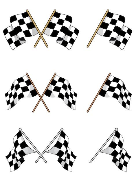 Set di bandiere a scacchi da corsa Vettore Premium