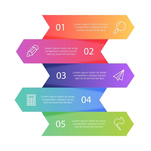 Set di bandiere colorate infografica Vettore gratuito