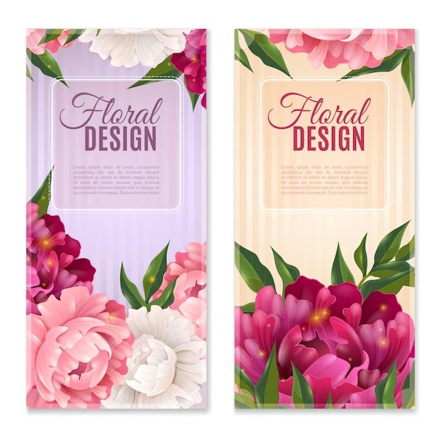 Set di bandiere floreali Vettore gratuito