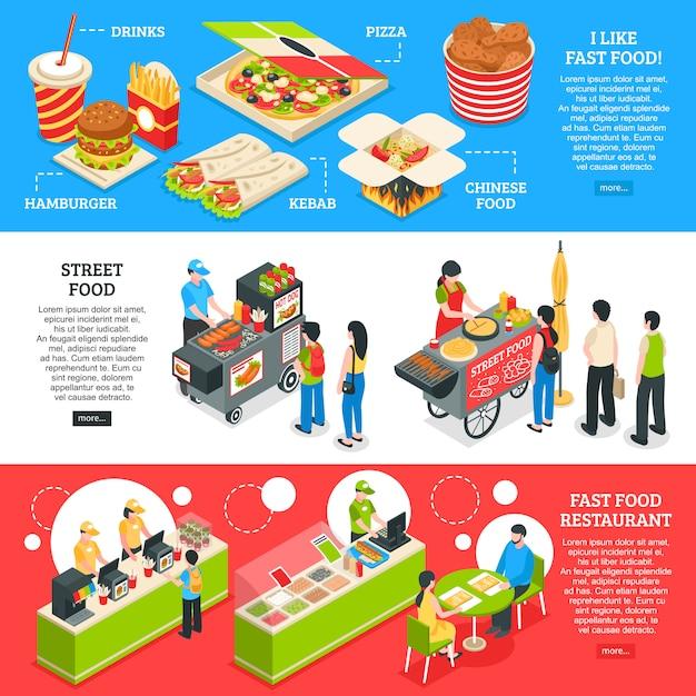 Set di bandiere isometriche di fast food Vettore gratuito