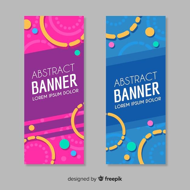 Set di bandiere moderne con disegno astratto Vettore gratuito