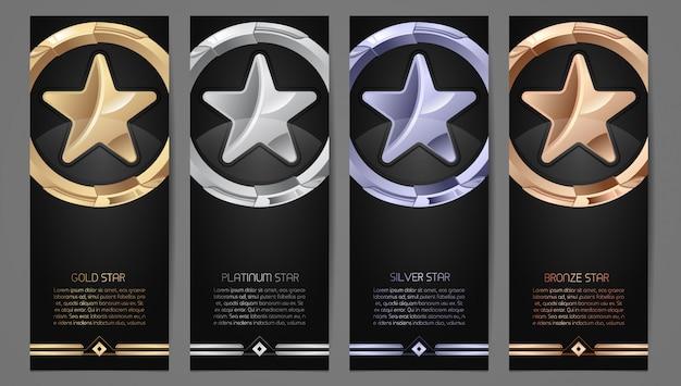 Set di bandiere nere Vettore Premium