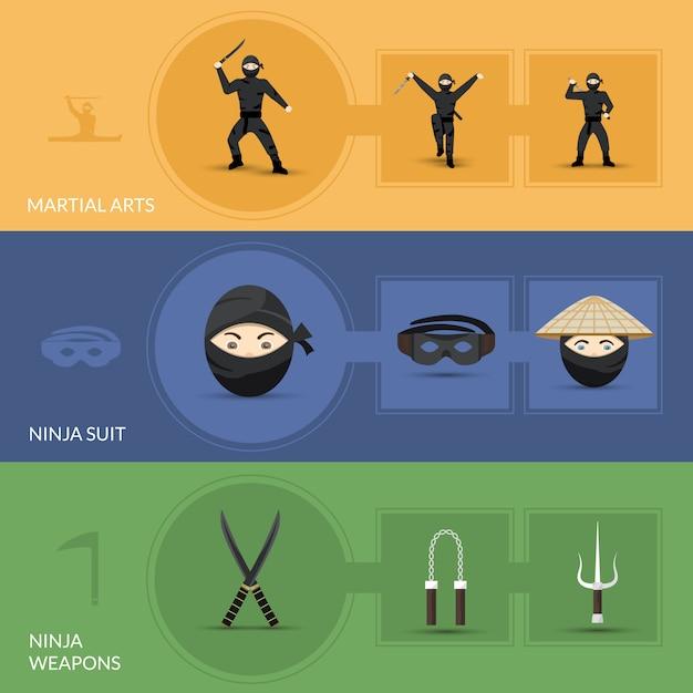 Set di bandiere ninja Vettore gratuito