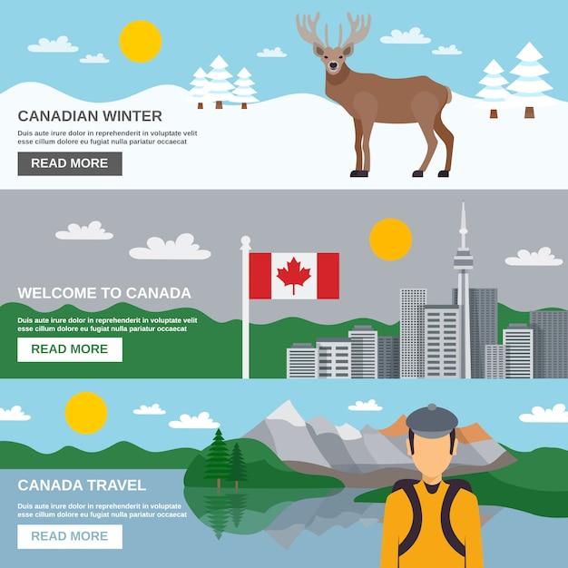 Set di bandiere orizzontali di viaggio canada Vettore gratuito