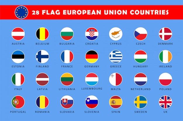 Set di bandiere rotonde dei paesi dell'unione europea Vettore Premium