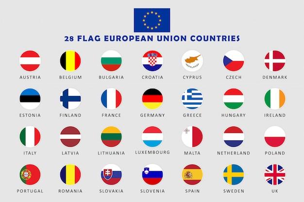 Set di bandiere rotonde di paesi dell'unione europea Vettore Premium