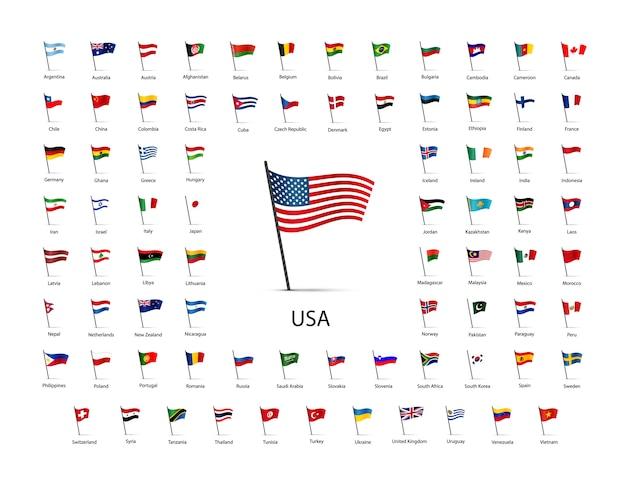 Set di bandiere su un palo con ombra isolato Vettore Premium