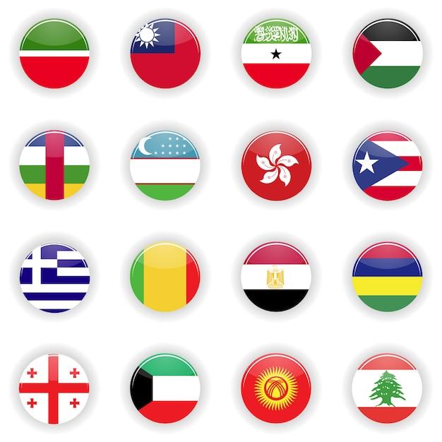 Set di bandiere Vettore Premium