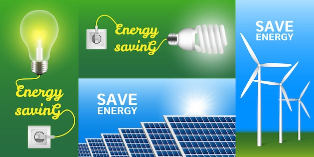 Set di banner a risparmio energetico Vettore Premium