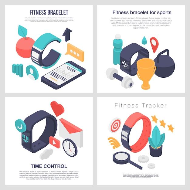 Set di banner accessorio braccialetto fitness, stile isometrico Vettore Premium